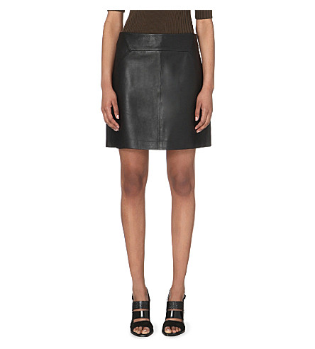 WHISTLES A-line leather skirt (Black