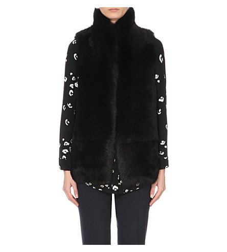 WHISTLES Reversible sheepskin gilet (Black
