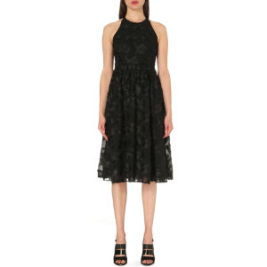 Floral-appliqué textured dress