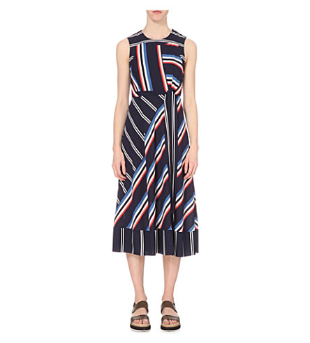 WHISTLES Striped chiffon dress (Multi-coloured