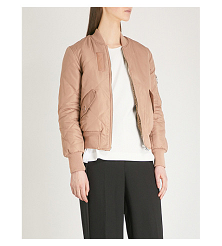 WHISTLES Carter reversible quilted shell bomber jacket (Nude