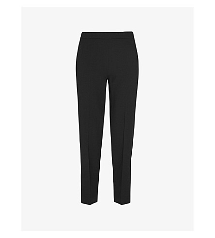WHISTLES Anna slim mid-rise wool trousers (Black