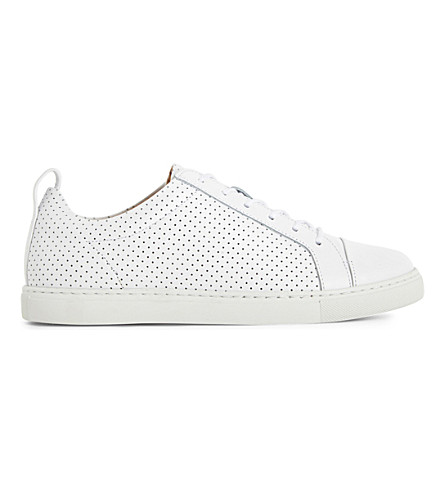 WHISTLES Kenley perforated leather sneakers (White