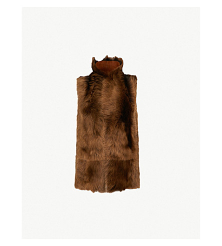 WHISTLES Reversible sheepskin gilet (Brown