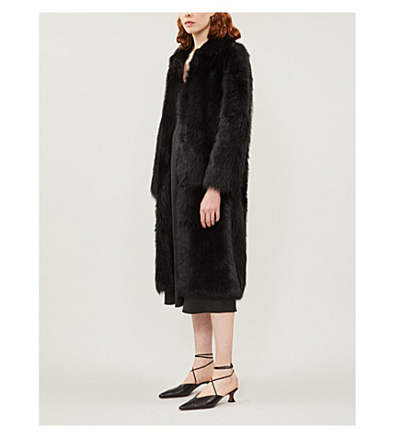 WHISTLES Ekland shearling coat (Black