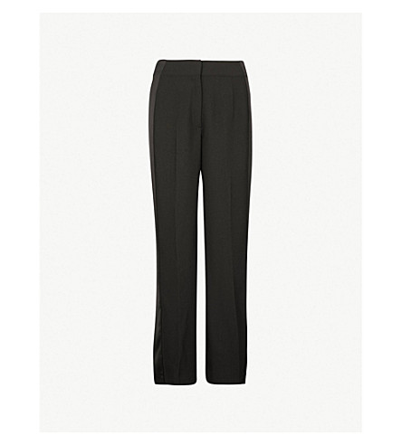 WHISTLES Wide-leg high-rise crepe pants (Black
