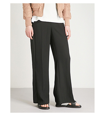 WHISTLES Wide-leg high-rise crepe trousers (Black