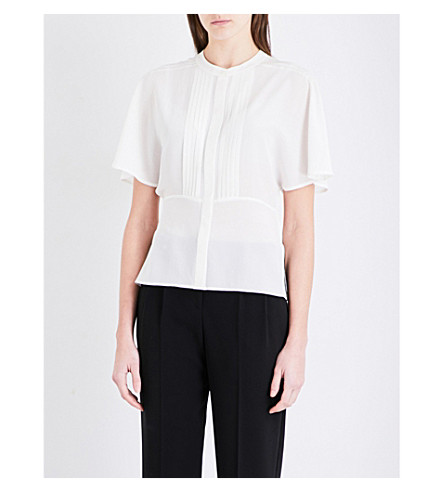 WHISTLES Esme pintuck silk blouse (Cream