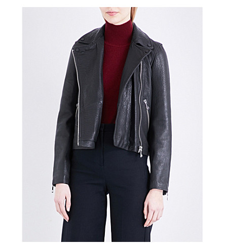 WHISTLES Agnes leather biker jacket (Black