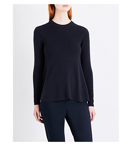 WHISTLES Fit and flare rib sweater (Navy