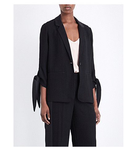 WHISTLES Satin-cuff crepe blazer (Black