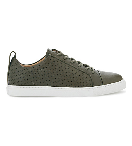WHISTLES Kenley leather lace-up trainers (Khaki/olive