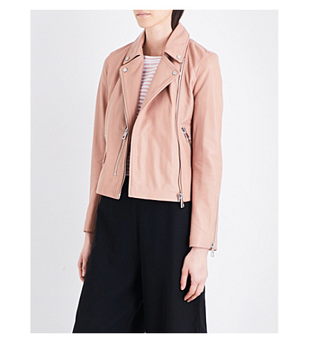 WHISTLES Agnes leather biker jacket (Nude