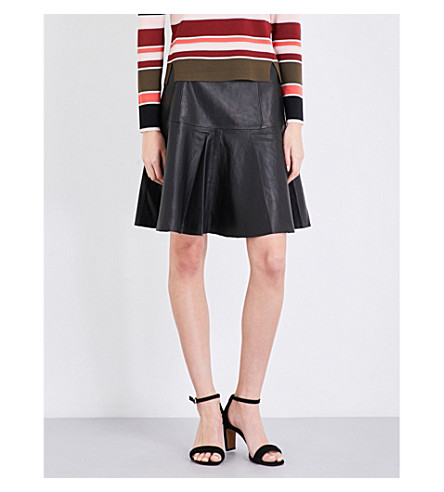 WHISTLES Fit-and-flare leather skirt (Black