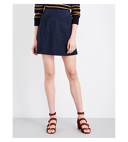 WHISTLES Leonie suede mini skirt (Navy