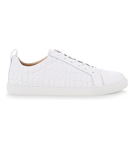 WHISTLES Kenley leather lace-up trainers (White