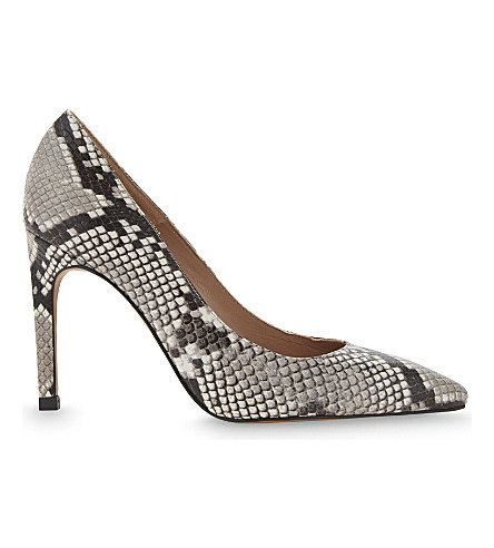 WHISTLES Cornel snake-print leather courts (Cream