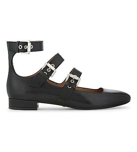 WHISTLES 何超仪搭扣皮革芭蕾舞平底鞋 (黑色