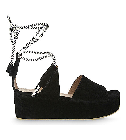WHISTLES Molino rope suede wedge sandal (Black