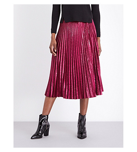 WHISTLES Kitty pleated metallic skirt (Pink