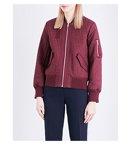 WHISTLES Quilted bomber jacket (Plum/claret