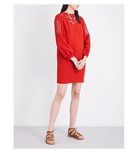 WHISTLES 石楠蕾丝剪连衣裙 (深色/烧焦 + 橙色
