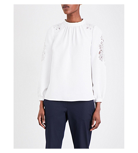 WHISTLES Briar crepe and lace top (Cream