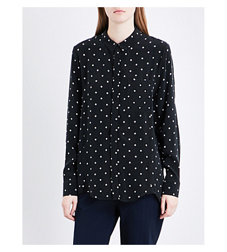 WHISTLES Emelia spotted shirt (Monochrome