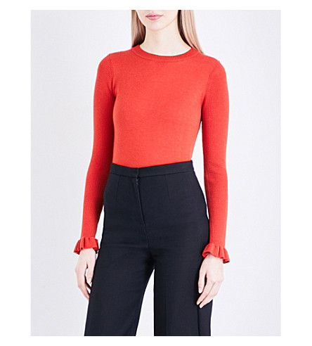 WHISTLES Frill-sleeve knitted jumper (Dark/burnt+orange