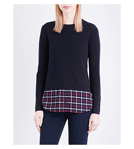 WHISTLES Knitted wool-blend shirt sweater (Navy