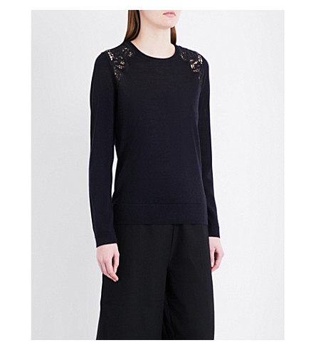 WHISTLES Lace insert wool jumper (Navy