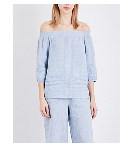 WHISTLES Lila linen off-the-shoulder top (Blue