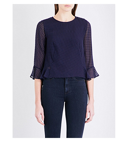 WHISTLES Clara peplum top (Navy
