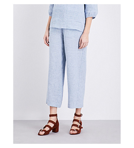 WHISTLES Wide mid-rise linen trousers (Blue