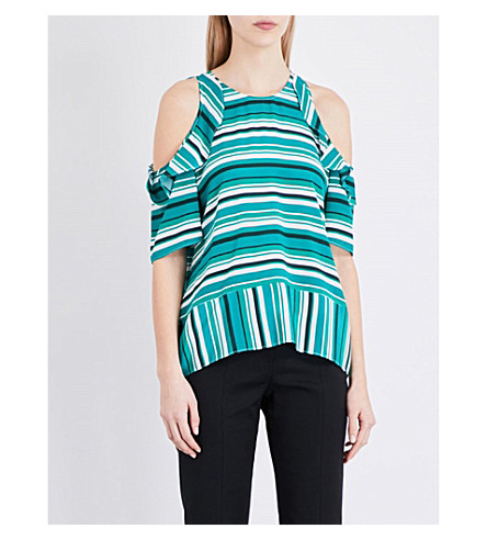 WHISTLES Madison silk cold-shoulder top (Multi-coloured