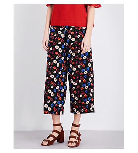 WHISTLES Pansy-print wide high-rise silk trousers (Multi-coloured
