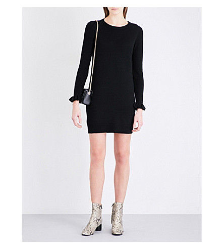 WHISTLES Frill-cuff wool dress (Black