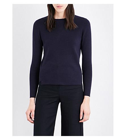 WHISTLES Stepped-hem knitted jumper (Navy