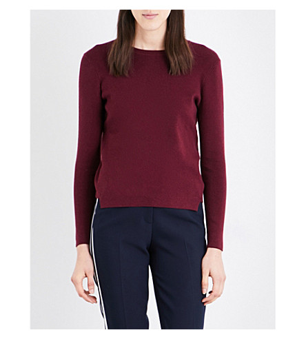 WHISTLES Stepped-hem knitted jumper (Plum/claret