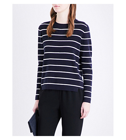 WHISTLES Striped cotton-blend knitted jumper (Multi-coloured