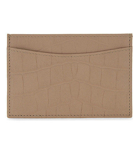 WHISTLES Crocodile-embossed leather card holder (Nude