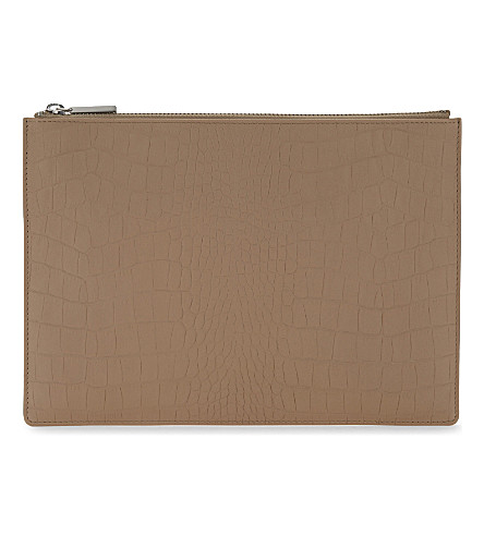 WHISTLES Crocodile-embossed leather clutch (Nude