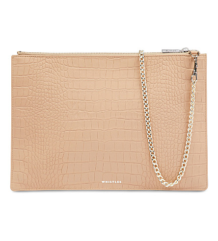 WHISTLES Rivington leather clutch bag (Nude