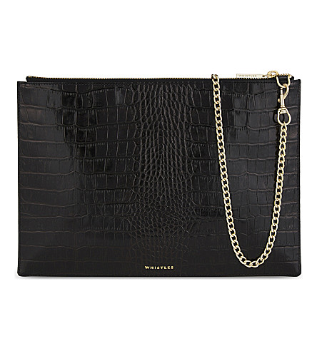 WHISTLES Rivington crocodile-embossed leather clutch (Black