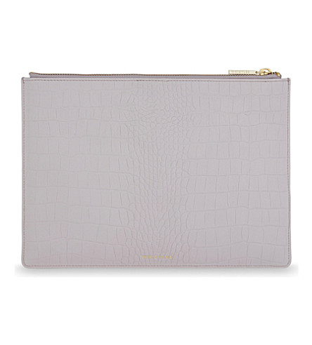 WHISTLES Crocodile-embossed medium leather clutch (Lilac
