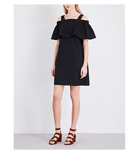 WHISTLES Minnie cotton cold-shoulder dress (Black