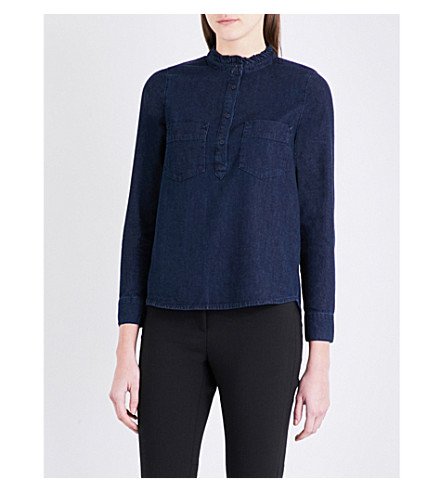 WHISTLES Matilda frill-neck denim blouse (Navy