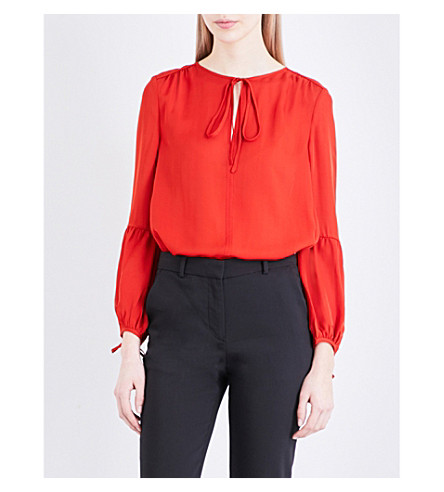 WHISTLES Erin silk blouse (Bright+orange