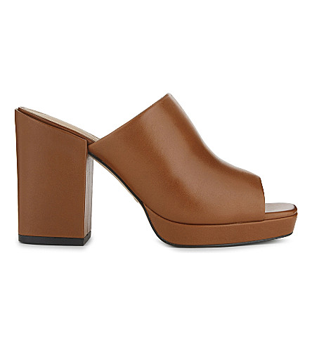 WHISTLES Florio leather heeled sandals (Tan
