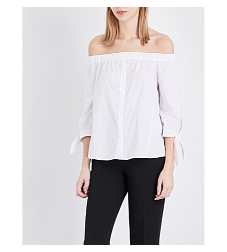 WHISTLES Estra cotton off-the-shoulder Bardot top (White